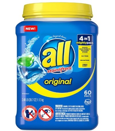 AMAZON: All Mighty Pacs Laundry Detergent 4 in 1 Stainlifter, Tub, 60 Count – HOT DEAL!!!