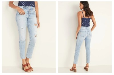 OLD NAVY: High-Waisted Distressed Power Slim Straight Button-Fly Jeans , EXTRA 30% OFF TAKEN AT CHECKOUT