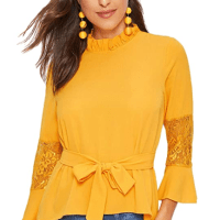 Amazon : Women's Tie Neck Long Sleeve V Neck Mesh Blouse Tops Just $ W/Code (Reg :$) (As of 4/6/2020 3.56 PM CST)