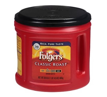 STAPLES: Folgers Classic Roast Ground Coffee at $6