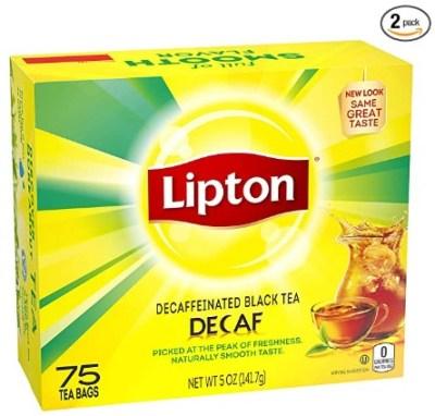 AMAZON: Lipton Tea Bags Decaffeinated Black Tea Caffeine-Free (Pack Of 2) $8.09