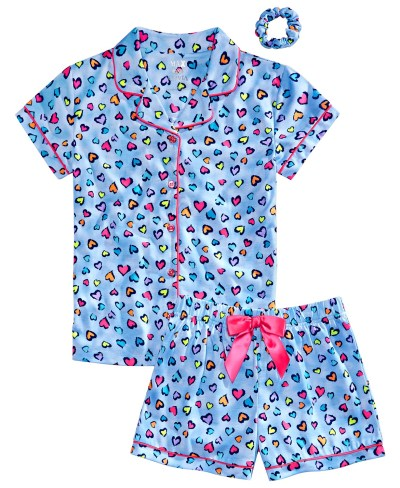 MACY'S: SALE!! Max & Olivia Big Girls Heart-Print Coat Pajamas & Scrunchie $14.40 (Reg $36.00)