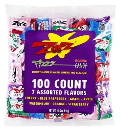 AMAZON: Zotz Fizzy Candy Bag, Assorted Flavors, 100 Count Bag