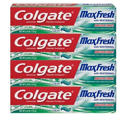 AMAZON: 4 Pack Colgate Max Fresh Whitening Toothpaste with Breath Strips for $7.98 (Reg. Price $13.96)