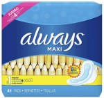 AMAZON: Always Feminine Pads with Wings, Size 1, Regular Absorbency, 45 Count $5.15 ($9.40)