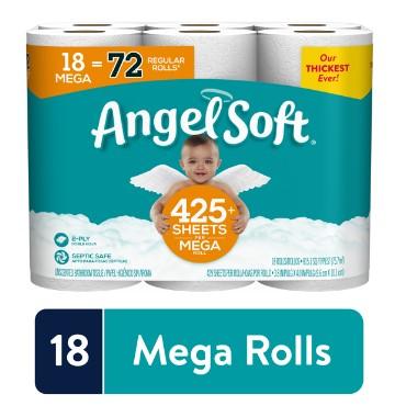 WALMART: Angel Soft Toilet Paper, 18 Mega Rolls (= 72 Regular Rolls) $14.97