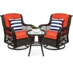 BCP: 3-Piece Patio Wicker Bistro Furniture Set w/ 2 Swivel Rocking Chairs, Table $449.99 (REG. $666.99)