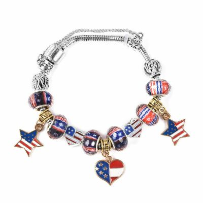 "eBay: Military Wife US Flag Charm Bracelet Enameled Elegant Memorial Day Jewelry 6.5"" $11.99 (REG. $26.02)"