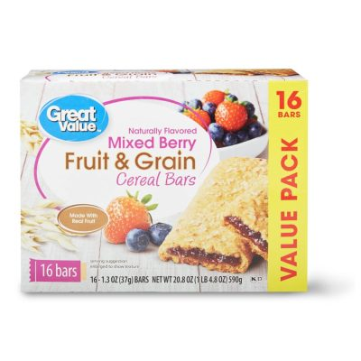 WALMART: Great Value Fruit & Grain Cereal Bars For $2.84