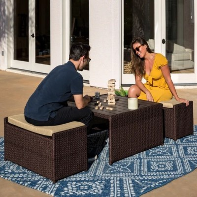 BCP: 3-Piece Outdoor Wicker Coffee Table Conversation Set w/ Ottoman Benches $199.99 (Reg $363.99)