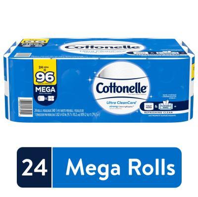 WALMART: Cottonelle Ultra CleanCare Strong Toilet Paper, 24 Mega Rolls, Bath Tissue