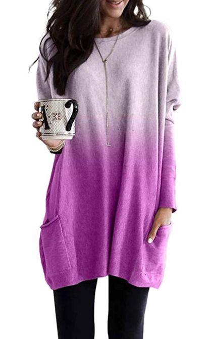 AMAZON: Eytino Women Sweatshirts Casual Tie Dye Printed Long Sleeve Crew Neck Pullover Tops with Pocket – 65% OFF!