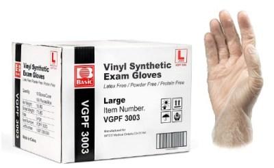 AMAZON: Basic Medical Clear Vinyl Synthetic Exam Gloves - Large (Case of 1,000) $70.57