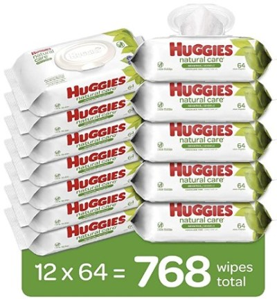 AMAZON: 768 Count Huggies Natural Care Sensitive Baby Wipes, Unscented - Price drop + Clip coupon