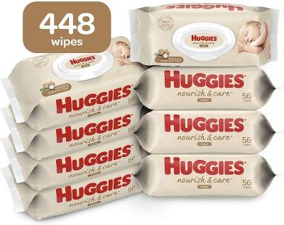 AMAZON: Huggies Nourish & Care Baby Wipes, 8 Flip-Top Packs, 56 Count Each