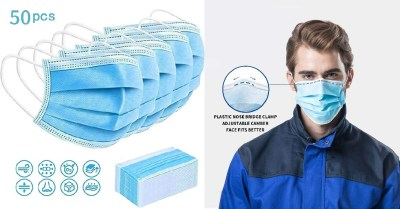 AMAZON: Disposable Face Mask, Dustproof Mouth Cover, 3-ply Safety Mask (50) $20.99 ($30)