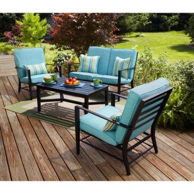 WALMART: Mainstays Rockview 4-Piece Patio Conversation Set, Seats 4 with Blue Cushions $497.99 (WAS $569.99)