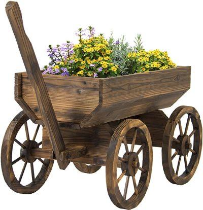 AMAZON: Wood Flower Planter Wagon Pot Stand w/Wheels for Home, Patio, Garden, Outdoor Decor - Brown $64.00