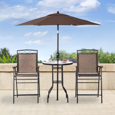 WALMART: Outsunny 4 Piece Folding Outdoor Patio Pub Dining Table And Chairs Set With 6' Adjustable Tilt Umbrella $259.99 ($389.99)