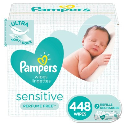 WALMART: Pampers Baby Wipes Sensitive Perfume Free 7X Refill Packs (Tub Not Included) 448 Count