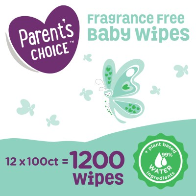 WALMART: Parent's Choice Fragrance Free Baby Wipes, 12 Flip-Top Packs (1200 Total Count)