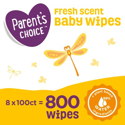WALMART: Parent's Choice Fresh Scent Baby Wipes, 8 packs of 100 (800 count)