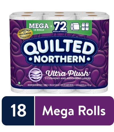 WALMART: Quilted Northern Ultra Plush Toilet Paper, 18 Mega Rolls (= 72 Regular Rolls)
