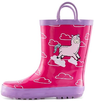 AMAZON: KomForme Rain Boots, Waterproof Rubber Printed with Handles