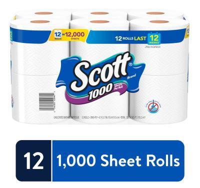 WALMART: Scott 1000 Sheets Per Roll, 12 Toilet Paper Rolls, Bath Tissue $9.87
