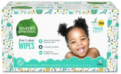 AMAZON: Seventh Generation Baby Wipes, Free & Clear Unscented and Sensitive, Gentle as Water, 768 count
