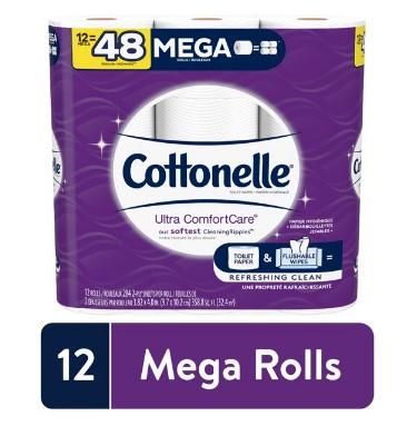 WALMART: 12 Mega Rolls Cottonelle Ultra ComfortCare Soft Toilet Paper, Bath Tissue $12.48