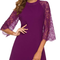 Amazon : Women's Vintage Round Neck Lace Crochet Sleeve Slim Flare Evening Mini Chiffon Dress Just $7.99 W/Code (Reg : $19.98)