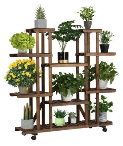 WALMART: Wood Rolling 6 Tier Flower Stand Display Stand Carbonized Indoors/Outdoors, $83.99