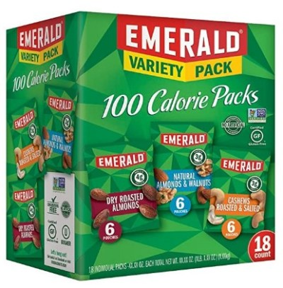 AMAZON: Emerald Nuts Variety Pack, 100 Calorie Almonds, Walnuts, Cashews, 18 Count ONLY $9.98