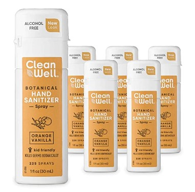 AMAZON: CleanWell Botanical Hand Sanitizer Spray, Orange Vanilla, 1 fl oz (6 PK)