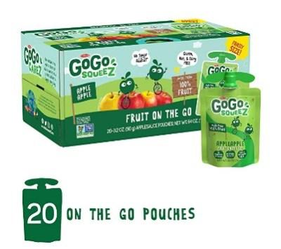AMAZON: GoGo squeeZ Applesauce on the Go, 3.2 oz (20 Pouches) ONLY $8.13 via SUB&SAVE!