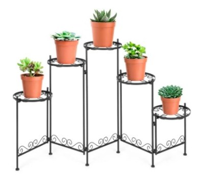 BEST CHOICE: 5-Tier Multi-Level Adjustable Folding Metal Plant Stand Display, 28in Tall $39.99 ($66.99)