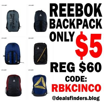 REEBOK: BACKPACKS FOR ONLY $5, Apply Code: RBKCINCO (Limit 1 Per Order)
