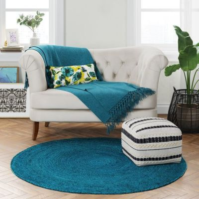 Target: 5′ Round Solid Braided Jute Area Rug, Teal Blue For $44.99 (Reg. $89.99)