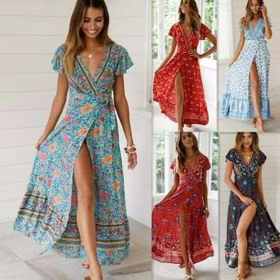 eBay: Boho Floral Paisley Maxi Dress Ladies Summer Beach Dresses $11.07