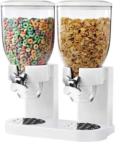 AMAZON: Indispensable Dry Food Dispenser, Dual Control, White/Chrome – PRICE DROP!
