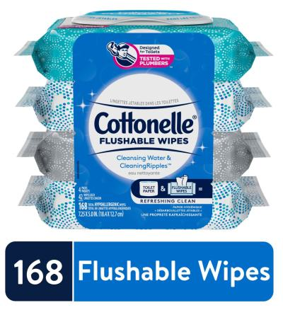 WALMART: Cottonelle Flushable Wet Wipes, 4 Flip-Top Packs, 42 Wipes per Pack (168 Wipes Total)