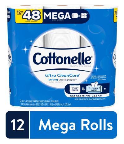 WALMART: Cottonelle Ultra CleanCare Strong Toilet Paper, 12 Mega Rolls, Bath Tissue