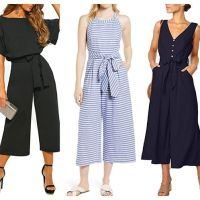 AMAZON: EZIGO Women Casual Striped Jumpsuit Wide Leg Jumpsuits, 50% off code 6AQD8RUW