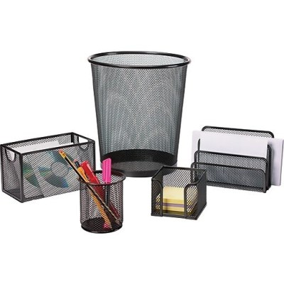 STAPLES: Black Wire Mesh Desk Collection 5-Piece Accessory Kit For $14.56 (Was $19) + FREE Shipping!