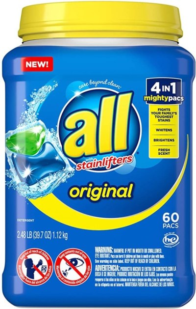 AMAZON: 60-Count All Mighty Pacs Laundry Detergent 4 In 1 Stainlifter, Tub For $7.52 Shipped!
