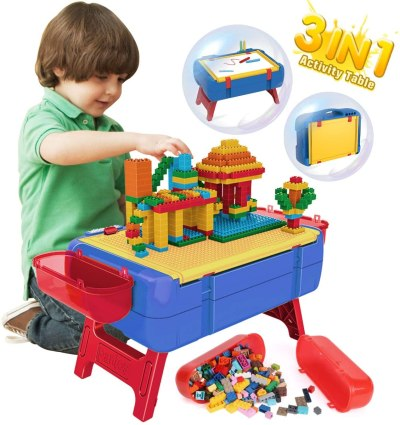 AMAZON: PANLOS Kids Activity Table Set-3 in 1 Luggage Learning Table and Building Brick Table, USE code 6UYZ273J TO SAVE!