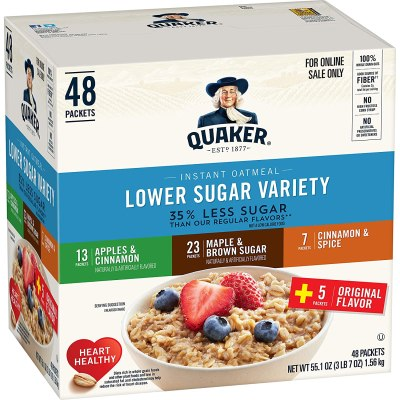 AMAZON: Quaker Instant Oatmeal, Lower Sugar, 4 Flavor Variety Pack, Individual Packets, 48 Count, CHECKOUT VIA SUBSCRIBE & SAVE!