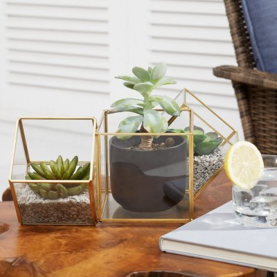 Walmart: Brass Tri-Cube Terrarium Planter For $23.56 (Reg. $29.99)