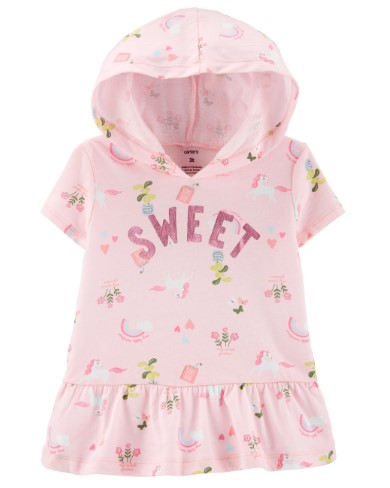 CARTER'S: Floral Unicorn Hooded Peplum Top For ONLY $5 (Reg. $20)